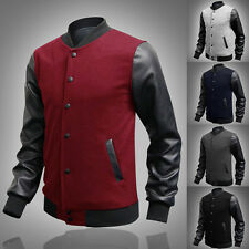 New Mens Black Coat Varsity Letterman College Baseball Jacket PU Leather Sleeves