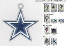 NFL team logo fobs (NFC East), pewter-toned, with team & leather strap options