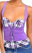 Purple Plaid Lace-Up Cincher Smocked Corset/Bustier/Tube/Cami Top S/M/L