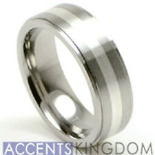 Accent Kingdom 6mm Women's Titanium Wedding Ring Band With Silver Inlay Size 5-8