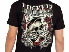 Lucky 13 Whiskey And Tears Skull Pipe Smoking Punk Goth Tattoo T Shirt S-4Xl