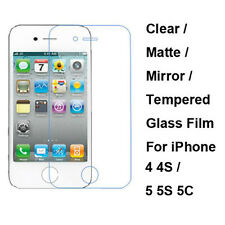 Tempered Glass / Clear / Matte Film Front Screen Protector For iPhone 4 4S 5 5S