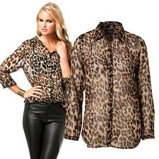 Hot Women's Chiffon Long Sleeves T-shirt Leopard Print Loose Casual Blouse Tops