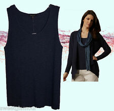 NWT Eileen Fisher Washable Wool Crepe Rib Scoopneck Ink Blue Long Tank Top