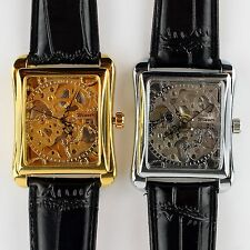 Classic Fashion Men Leather Gold Dial Skeleton Mechanical Sport Army Wrist Watch