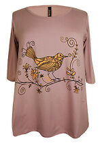 New Ladies Dusty Pink Bird Print Plus Size Tunic Top 16 - 32