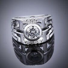 Promotion Price 925Sterling Silver Zircon Wide Watch Men Ring Size 7 8 GR474