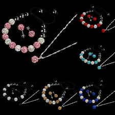 Free Shipping 10MM Crystal Ball Jewelry Shamballa Bracelet Earrings Necklace Set