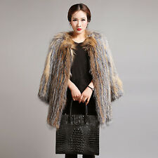 Women's Real Fox Knitted Fur Stripes Coat Jacket