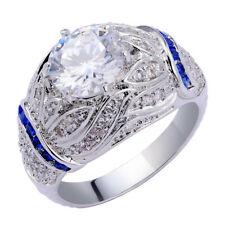 Alice 3.9CT Round Blue Sapphire Topaz White Gold Plated Engagement Ring Size 6-9