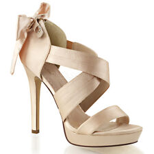Pleaser Lumina 23 Champagne Satin Cross Strap Mini Platform Wedding Prom Sandal