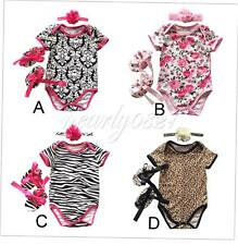 3PCS Baby Girls Outfits Costume Romper Bodysuit Jumpsuit Clothing 0-12 Months