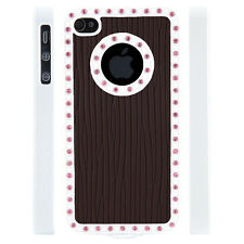 Apple iPhone 4 4S Gem Crystal Rhinestone Brown Raised Lines Wallpaper case