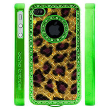 Apple iPhone 4 4S Gem Crystal Rhinestone Gold Purple Leopard Print Scale case