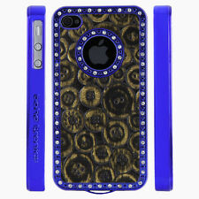 Gem Crystal Rhinestone Black Gold Buttons Leather Case For Apple iPhone 4 4S 4G