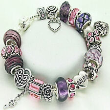 Pink Purple MUM Charm Bracelet Rhinestone Beads Ladies BIRTHDAY Present Gift Box