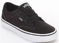 Boy's Youth VANS WINSTON Black/White Canvas Athletic Casual Skate Shoes NEW