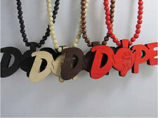 "1 Piece Wooden Hip-Hop ""DOPEs""Ghost Pendants Rosary Bead Necklaces 36"" Gifts New"