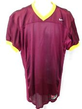 College Authentic Blank Football Jersey Burgundy with Yellow Trim