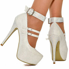 Womens White Sparkly Platform High Heels Diamante Ankle Strap Buckle Shoes Size