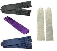 BLACK NAVY PURPLE SEXY SATIN RUCHED ELBOW LONG EVENING GOTHIC WEDDING GLOVES