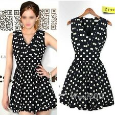 Fashion Women Summer Casual Chiffon Sleeveless Polka Dot Print Mini Short Dress