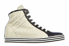 HOGAN WOMEN'S SHOES HIGH TOP LEATHER TRAINERS SNEAKERS REBEL R182 BEIGE  FBF