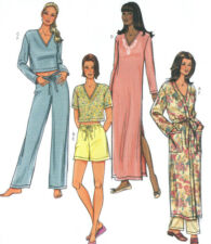 Misses Robe Nightgown Pajama Top Pants Shorts Sewing Pattern Drawstring 4037