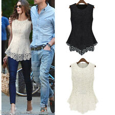 New Chic Women Floral Lace Blouse Sleeveless Crochet Peplum Tank Tops Slim Shirt