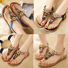 Women's BOHO Comfy Oxford Flats Flip flops Sandals Beach summer Shoes Full Size