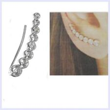 Rhodium 925 Sterling Silver Clear CZ Crystal Line Up Dots Earring Earwire