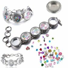 Multi style Floating Crystal Chunky Snap charm jewerly Button Pendant Necklace
