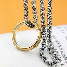 Lord of the Rings Stainless Steel The One Ring Bilbo's Hobbit Gold Ring&Chain