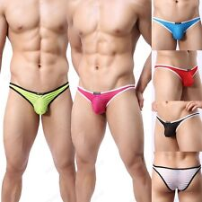 Brand Men's Striped Gauze Sheer Briefs Underwear Sexy Underpants Size M L XL 28