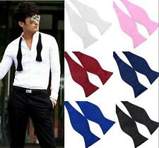 Stylish Mens Bowties Solid Color Plain Silk Self Tie Bow Ties Multi-Colors D34