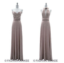 L2 TAUPE MULTI WAY Dress Convertible Bridesmaid Maxi Full Length NEW S M L XL