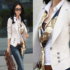 New Womens 3 Color Blazer Jacket Suit Button Work Casual Basic Coat Long Sleeve