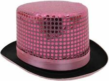 PINK SEQUIN TOP HAT CABARET CIRCUS RINGMASTER FANCY DRESS COSTUME ACCESSORY