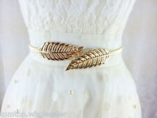 Casual Women Elastic Belt Leaf Stretch Metal Clasp Front Chain Waistband Trendy