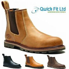 MENS DICKIES SAFETY WORK STEEL TOE CAP DEALER LEATHER SHOES CHELSEA WELTED BOOTS