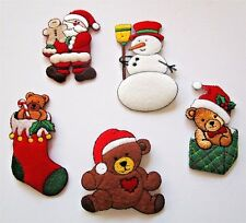 Set of CHRISTMAS Felt Iron On Embroidered Appliques~ Santa Snowman Bear Stocking