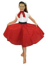 GIRLS 1950'S CIRCLE SKIRT + NECK TIE LONG RED & BLACK SPOT FANCY DRESS DANCE
