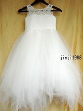 TUTU Lace Tulle Flower Girl Dress Wedding Easter Junior Bridesmaid Girl Dress