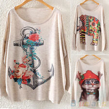 Womens Cat Rose Anchor Print Sweater Batwing Sleeve Pullover Knitwear Clearance
