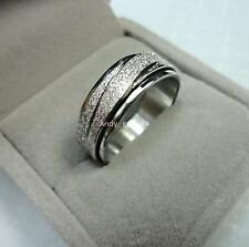 Fashion top cool Double Spin Women Men Frosted Silver Band Stainless steel Ring