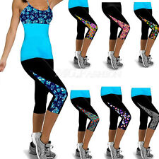 Leggings Running Yoga Sports Fitness Gym Capri Womens 3/4 Pants Exercise Bottoms