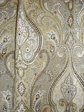 Superb Woven Tapestry Curtains, Paisley, Pale Gold, Cream & Bronze, PENCIL PLEAT