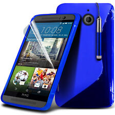 S Line Wave Gel Skin Case Cover, LCD Film & Stylus Pen For HTC One M9 (2015)