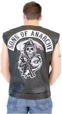 SONS OF ANARCHY BLACK FAUX LEATHER HIGHWAY REAPER PATCH BIKER VEST S-4XL