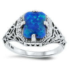 BLUE LAB FIRE OPAL ANTIQUE ART DECO DESIGN .925 STERLING SILVER RING,       #146